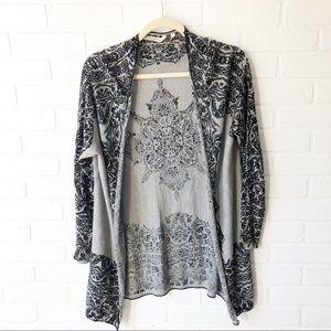 Soft Surroundings Gray/Black Print Open Cardigan M
